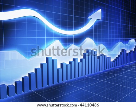 Ice Series Stock with Up Arrow - stock photo