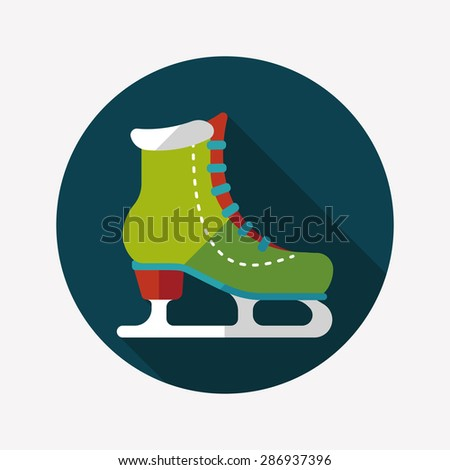 ice skate flat icon with long shadow