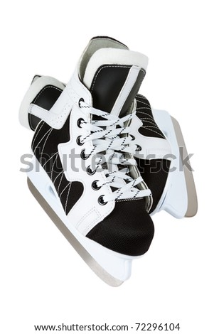 ice skate for children on white background - sport and leisure - stock photo