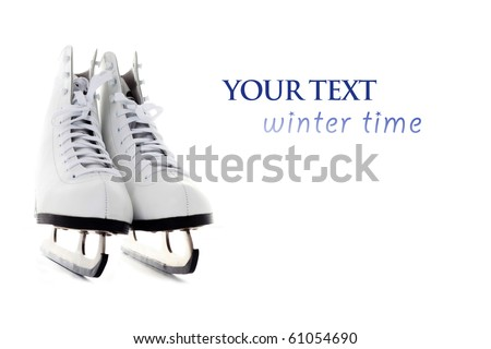 ice skate on white background - sport and leisure - stock photo