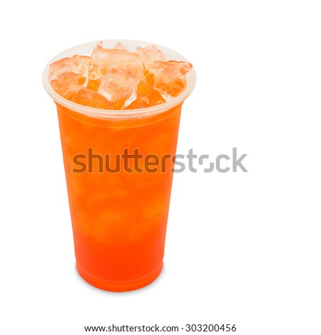 ice tea strawberry in takeaway glass isolated on white background with clipping path