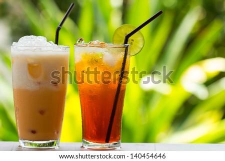 Ice Tea / thai ice tea with milk and non milk - stock photo