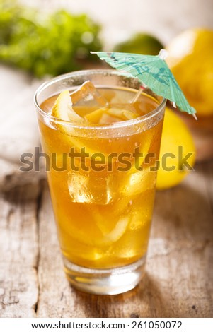 Ice tea with lemon - stock photo