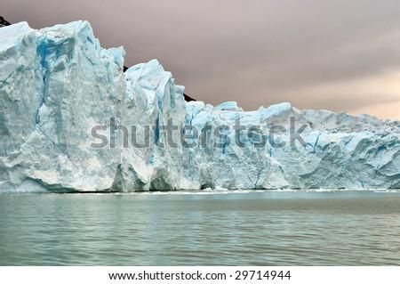 Ice Walls Of Glacier Perito Moreno - stock photo
