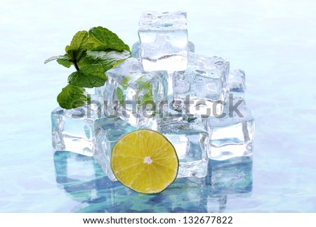 Ice with mint and lime on light background