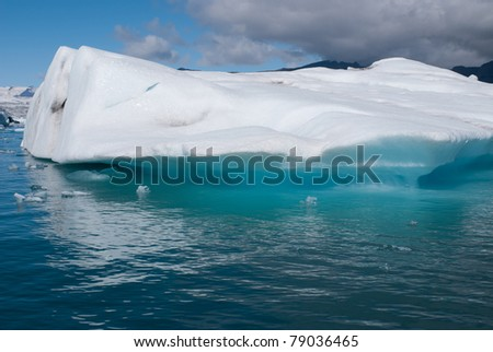 Iceberg and gray clouds on the lake in Iceland Jokulsarlon