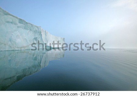 iceberg and ship - stock photo