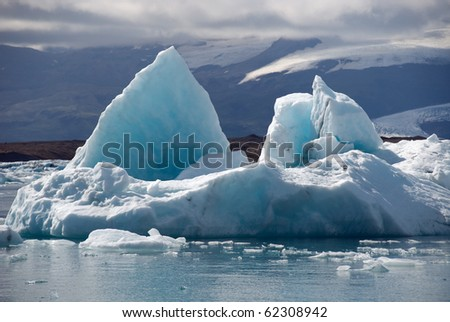 Iceberg blue tip of the lake Jokulsarlon in Iceland