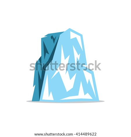 Iceberg Cartoon Illustration. Ice rock with a plurality of protrusions. Branding Identity Corporate unusual Logo isolated on a white background - stock photo