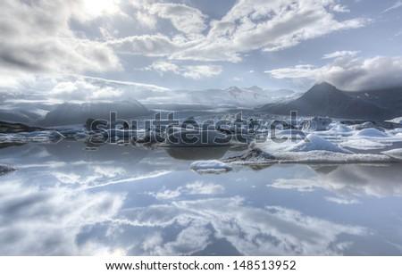 Iceberg in Fjallsarlon glacier lake in Iceland. - stock photo