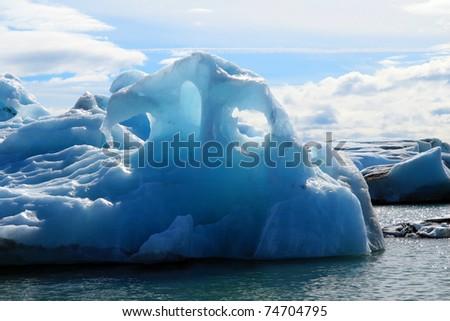iceberg in glacier lagoon - stock photo