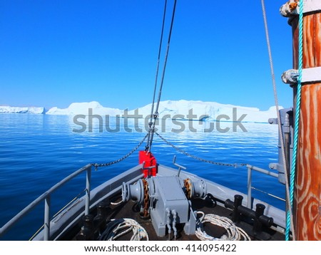 Iceberg in Greenland, view from a boat - stock photo