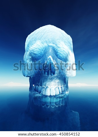 Iceberg in the shape of a human skull. Conceptual image of inherent dangers of an iceberg or the arctic meltdown - stock photo
