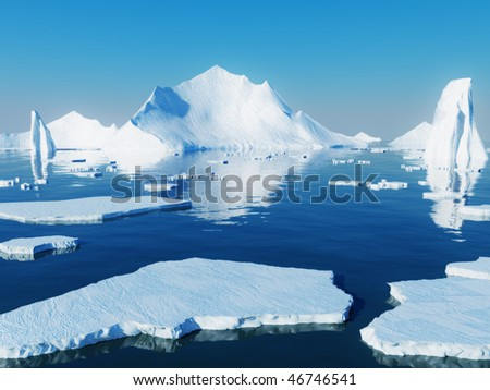 Icebergs - stock photo