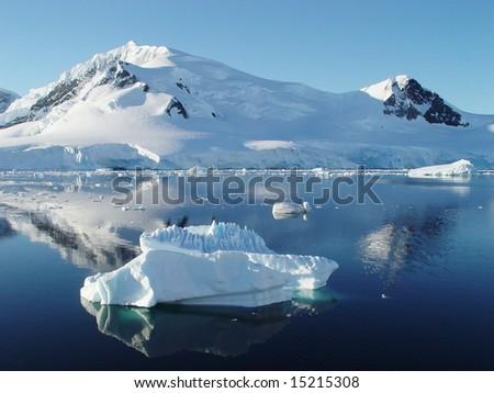 Icebergs, Antarctica - stock photo