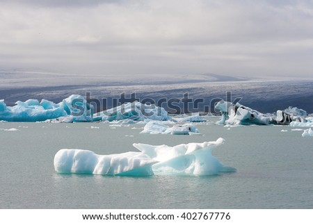 Icebergs at Jokulsarlon glacier lagoon, south of Iceland - stock photo