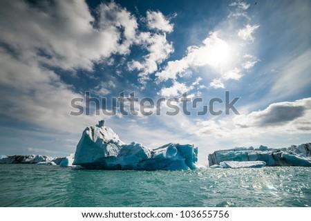 Icebergs at Jokulsarlon. Iceland - stock photo
