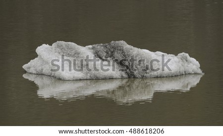Icebergs floating on brown water