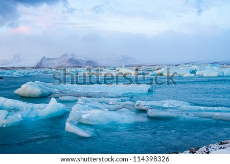 Icebergs in Jokulsarlon, Iceland - stock photo
