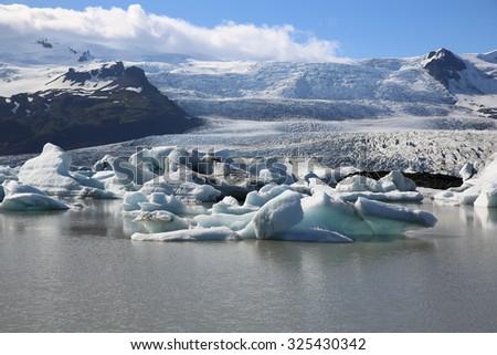 Icebergs in Jokulsarlon Lagoon - stock photo