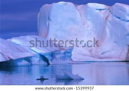 Icebergs in Jokulsarlon lagoon by sunny day, Iceland - stock photo