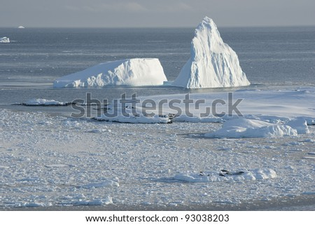 Icebergs near the island of ice fields. - stock photo