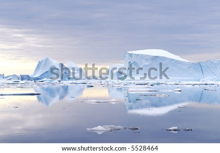 Icebergs - Northeast Greenland National Park - stock photo