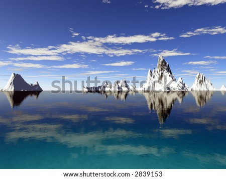 Icebergs with reflections in a tropical blue ocean - stock photo