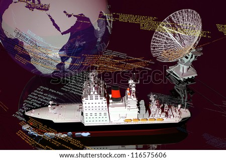 Icebreaker and a model of the world. - stock photo