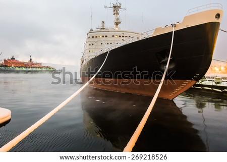 Icebreaker ship in a dock of Murmansk - stock photo