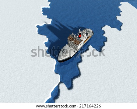 Icebreaker ship on the ice in the sea. - stock photo