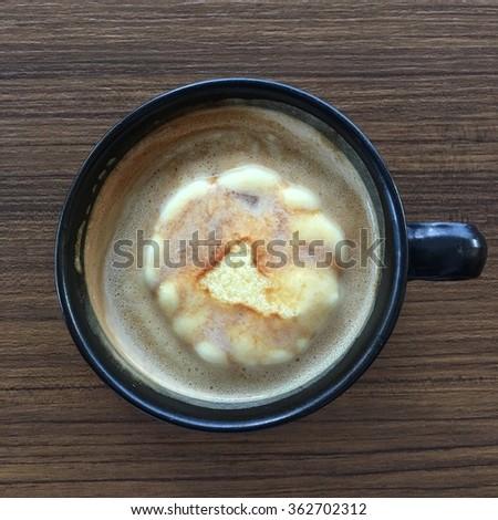 Icecream in coffee. Name Affogato.  - stock photo