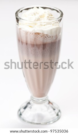 iced blended chocolate milk cocktail. On white - stock photo