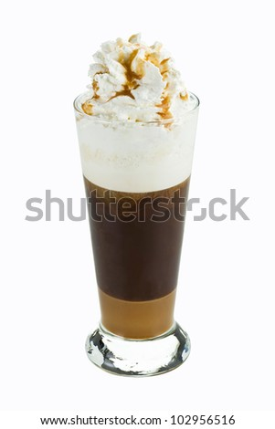 Iced cofee with whipped cream  isolated on white background - stock photo