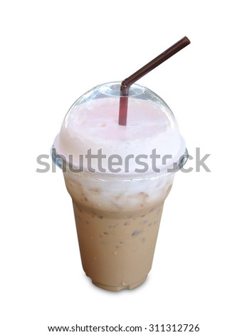 Iced coffee covered with whipped cream in plastic glass isolated on white background