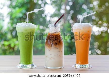 Iced coffee, greentea, milk tea  is on the table - stock photo