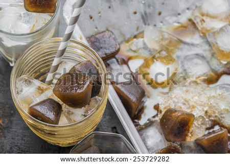 Iced coffee homemade making from ice cubes coffee frozen served in a glass. - stock photo