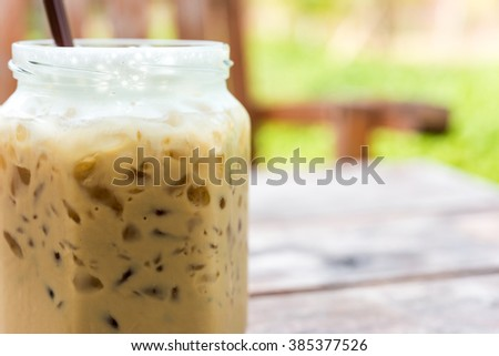 iced coffee,  iced coffee on the table.(Iced Cappuccino) - stock photo