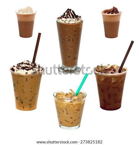 Iced coffee in glass assortment on white background - stock photo