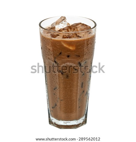 Iced coffee in glass with cream isolated on white background including clipping path - stock photo