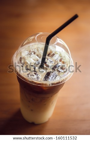 Iced Coffee in Plastic cup - stock photo