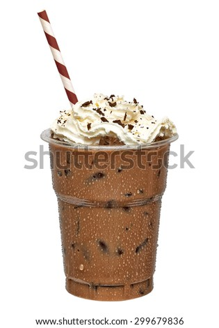 Iced coffee in takeaway cup isolated on white background including clipping path - stock photo