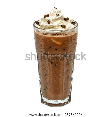 Iced coffee mocha in glass with cream isolated on white background including clipping path - stock photo