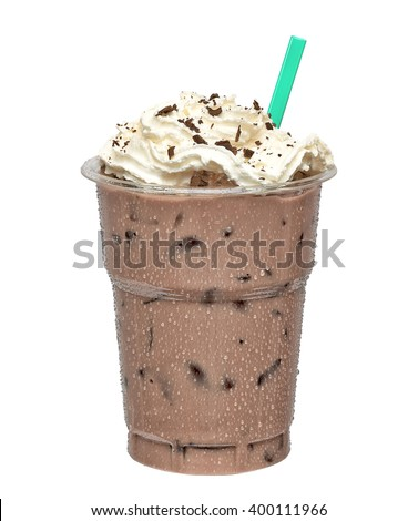 Iced coffee mocha in takeaway cup on white background included clipping path - stock photo