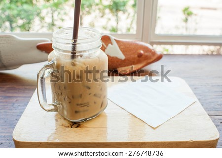 Iced coffee on the table.