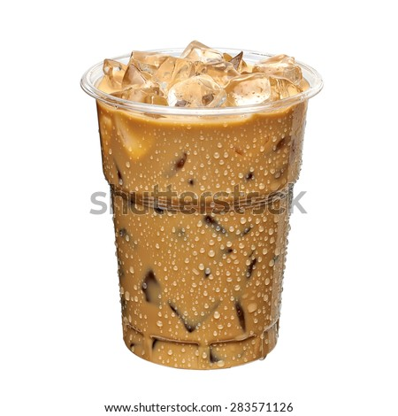 Iced coffee or caffe latte in takeaway cup including clipping path - stock photo