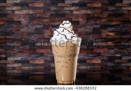 Iced coffee, whipped cream , delicious  - stock photo