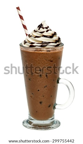 Iced coffee with chocolate sauce vanilla cream on white background including clipping path - stock photo