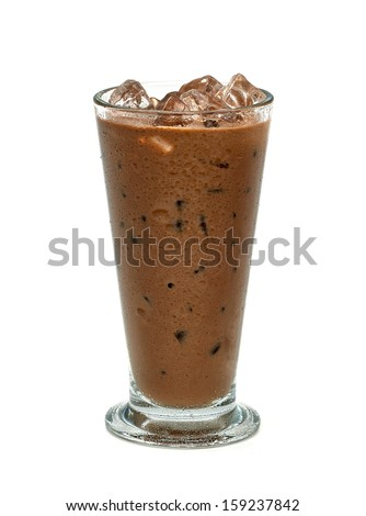 Iced coffee with clipping path on white background - stock photo