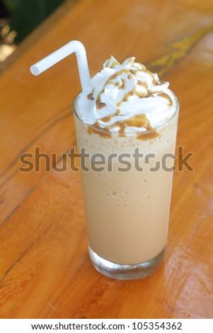 iced coffee with cream - stock photo